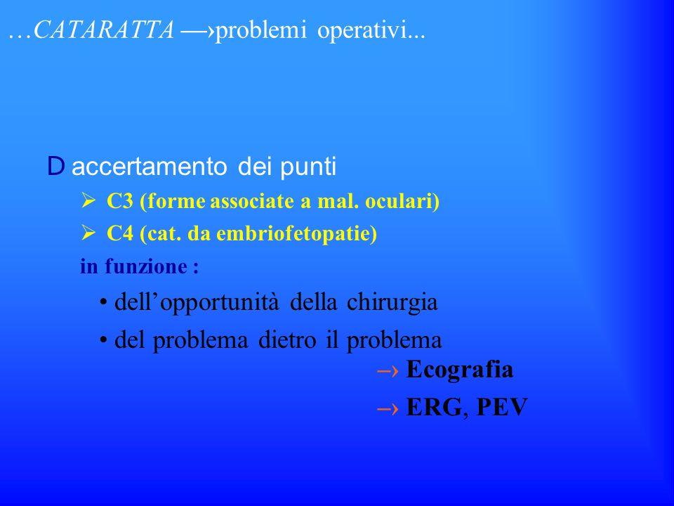 …CATARATTA problemi operativi... D accertamento dei punti C3 (forme associate a mal. oculari) C4 (cat. da embriofetopatie) in funzione : dellopportuni