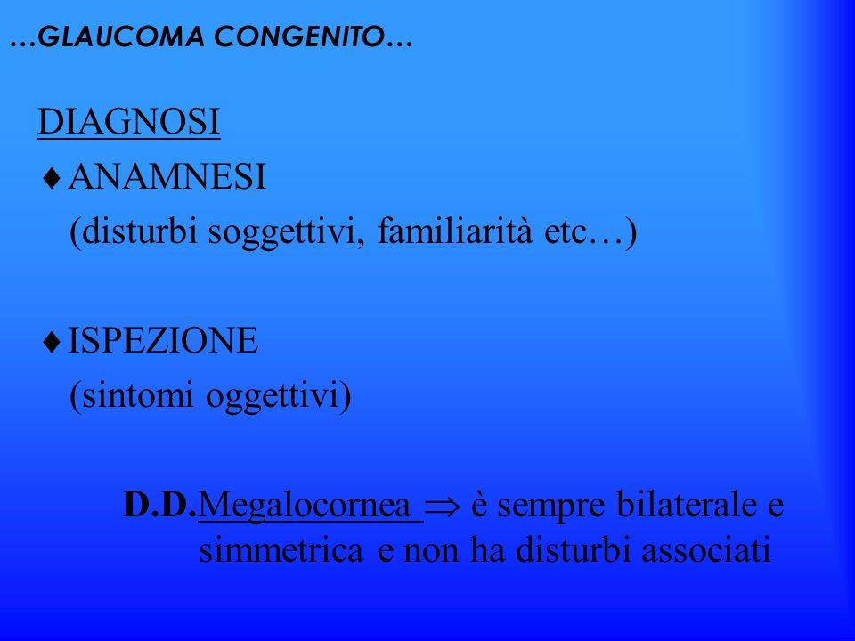 …GLAUCOMA CONGENITO… DIAGNOSI ANAMNESI (disturbi soggettivi, familiarità etc…) ISPEZIONE (sintomi oggettivi) D.D.Megalocornea è sempre bilaterale e si