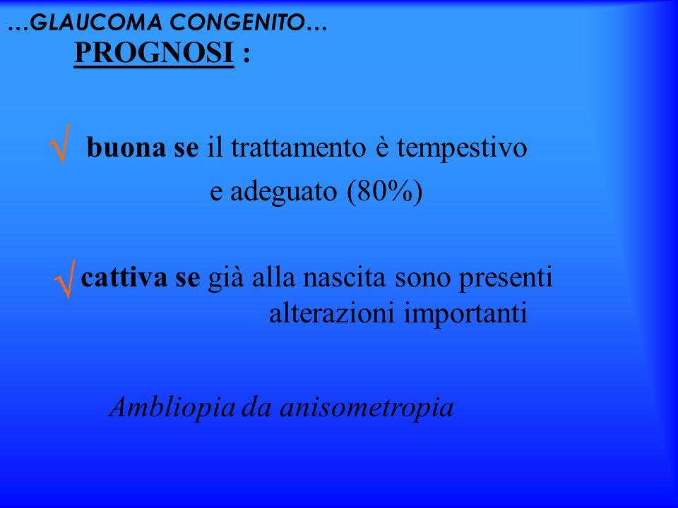 …GLAUCOMA CONGENITO… buona se il trattamento è tempestivo e adeguato (80%) PROGNOSI : cattiva se già alla nascita sono presenti alterazioni importanti