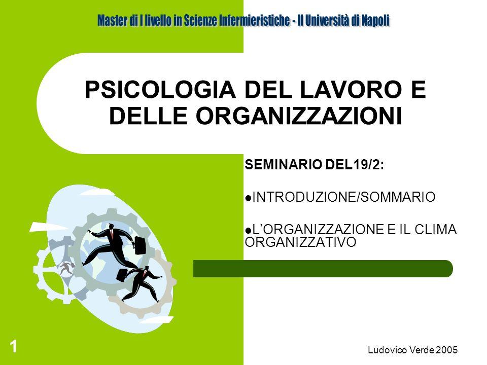 Ludovico Verde 2005 11 IL CLIMA ORGANIZZATIVO Il C.O.