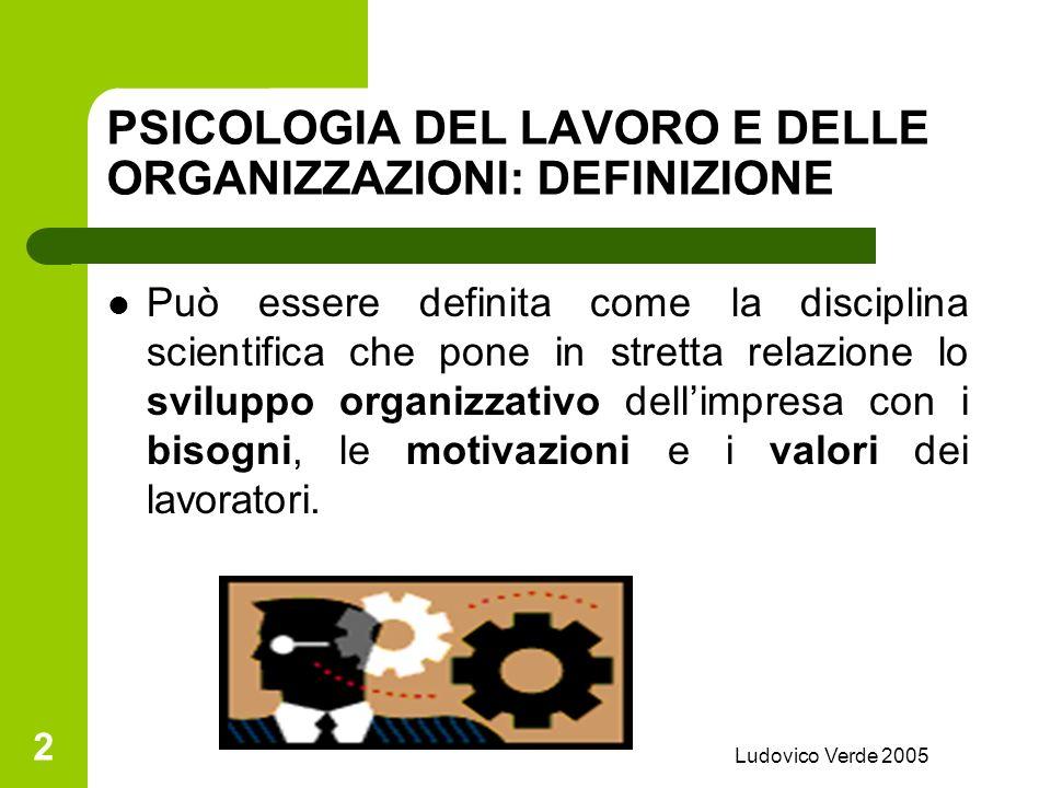 Ludovico Verde 2005 12 IL CLIMA ORGANIZZATIVO Insieme di valori e caratteristiche di unorganizzazione Che influenzano i comportamenti dei membri Condivisi dalla maggioranza e percepiti anche allesterno dellorganizzazione