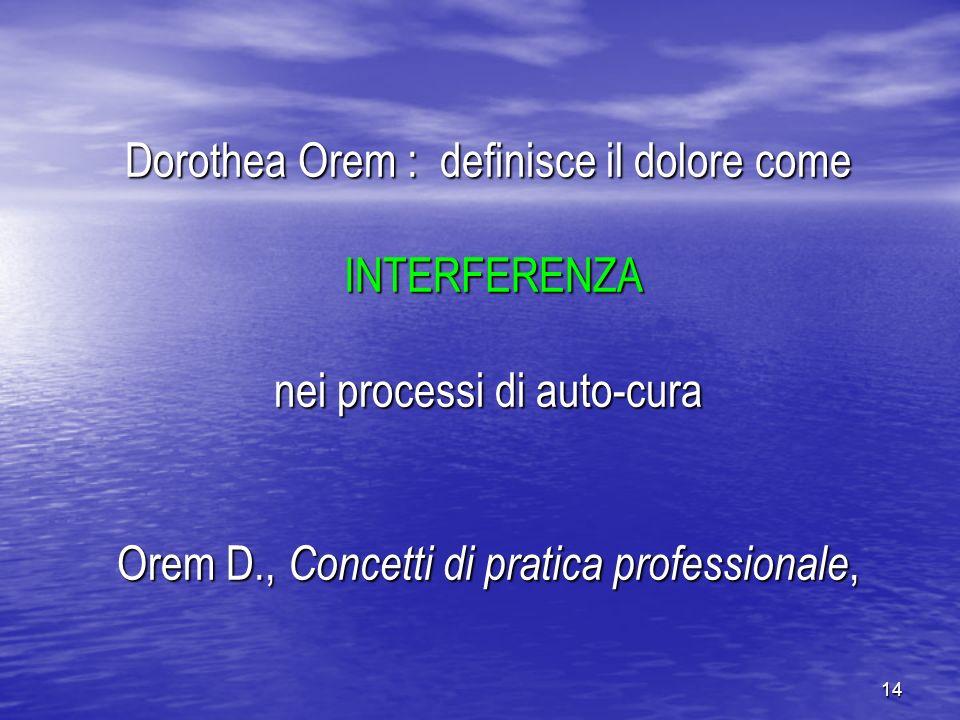 14 Dorothea Orem : definisce il dolore come INTERFERENZA nei processi di auto-cura Orem D., Concetti di pratica professionale,