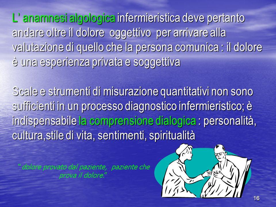 16 L anamnesi algologica infermieristica deve pertanto andare oltre il dolore oggettivo per arrivare alla valutazione di quello che la persona comunic