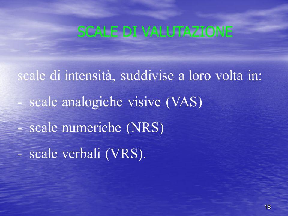 18 SCALE DI VALUTAZIONE scale di intensità, suddivise a loro volta in: - scale analogiche visive (VAS) - scale numeriche (NRS) - scale verbali (VRS).