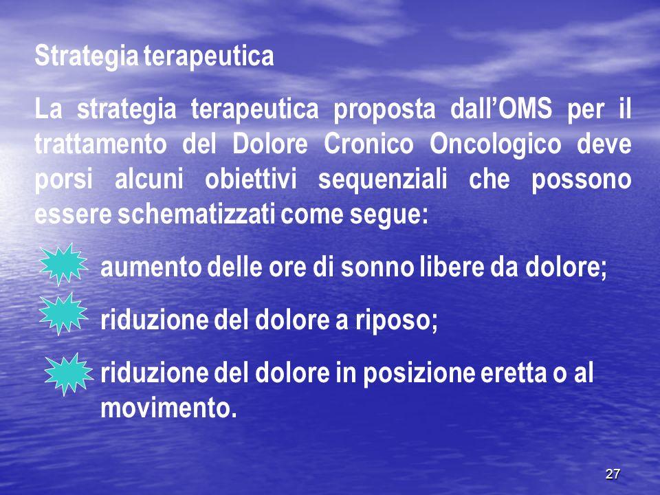 27 Strategia terapeutica La strategia terapeutica proposta dallOMS per il trattamento del Dolore Cronico Oncologico deve porsi alcuni obiettivi sequen