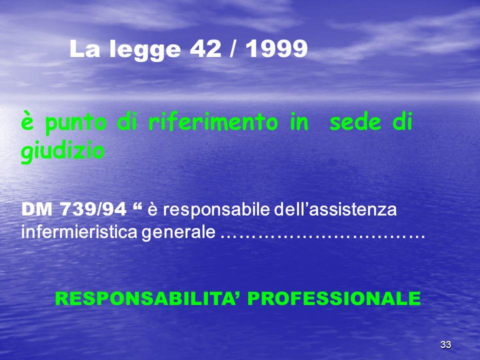 33 La legge 42 / 1999 è punto di riferimento in sede di giudizio DM 739/94 è responsabile dellassistenza infermieristica generale …………………………… RESPONSA