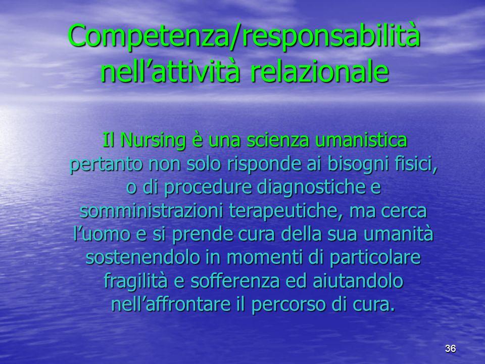 36 Competenza/responsabilità nellattività relazionale Il Nursing è una scienza umanistica pertanto non solo risponde ai bisogni fisici, o di procedure