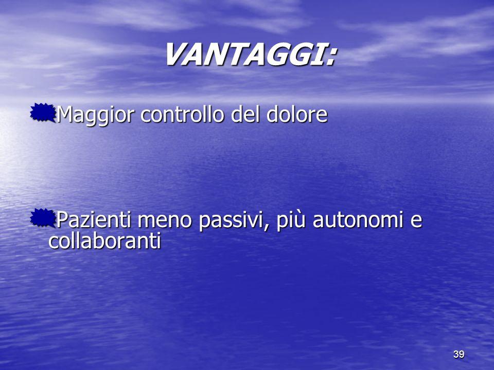 39 VANTAGGI: Maggior controllo del dolore Maggior controllo del dolore Pazienti meno passivi, più autonomi e collaboranti Pazienti meno passivi, più a