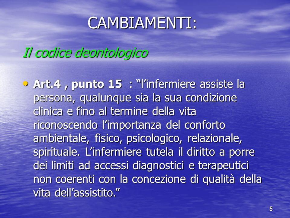5CAMBIAMENTI: Il codice deontologico Art.4, punto 15 : linfermiere assiste la persona, qualunque sia la sua condizione clinica e fino al termine della