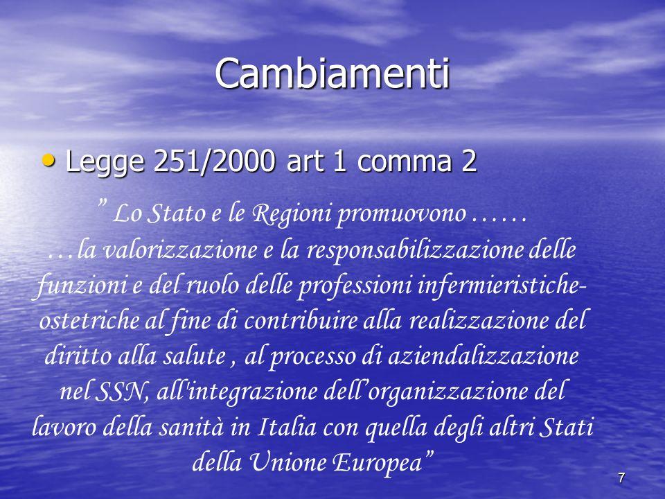 7 Cambiamenti Legge 251/2000 art 1 comma 2 Legge 251/2000 art 1 comma 2 Lo Stato e le Regioni promuovono …… …la valorizzazione e la responsabilizzazio