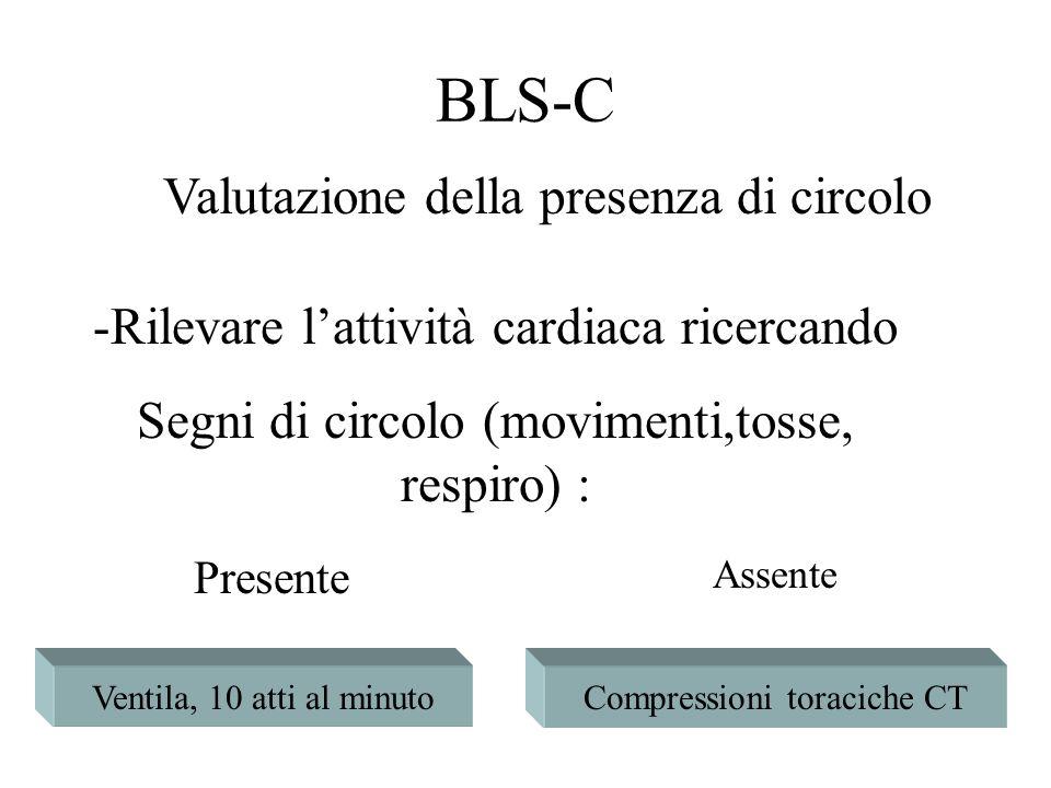 -Rilevare lattività cardiaca ricercando Segni di circolo (movimenti,tosse, respiro) : Ventila, 10 atti al minutoCompressioni toraciche CT Presente Ass
