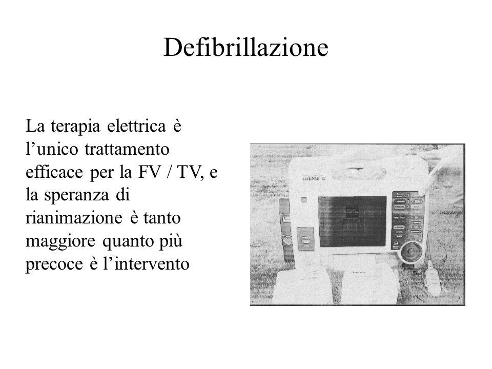 La terapia elettrica è lunico trattamento efficace per la FV / TV, e la speranza di rianimazione è tanto maggiore quanto più precoce è lintervento Def