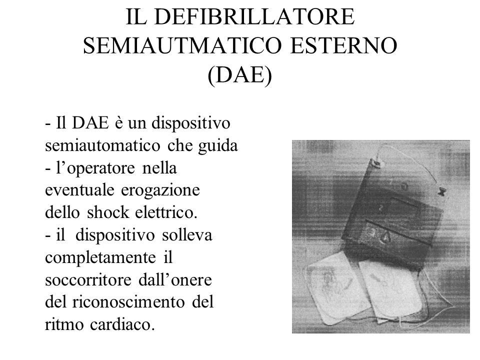 - Il DAE è un dispositivo semiautomatico che guida - loperatore nella eventuale erogazione dello shock elettrico. - il dispositivo solleva completamen