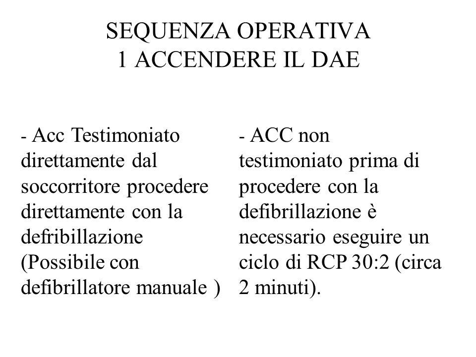 - Acc Testimoniato direttamente dal soccorritore procedere direttamente con la defribillazione (Possibile con defibrillatore manuale ) - ACC non testimoniato prima di procedere con la defibrillazione è necessario eseguire un ciclo di RCP 30:2 (circa 2 minuti).