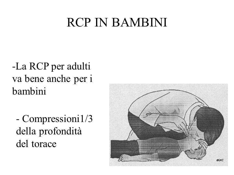 RCP IN BAMBINI -La RCP per adulti va bene anche per i bambini - Compressioni1/3 della profondità del torace