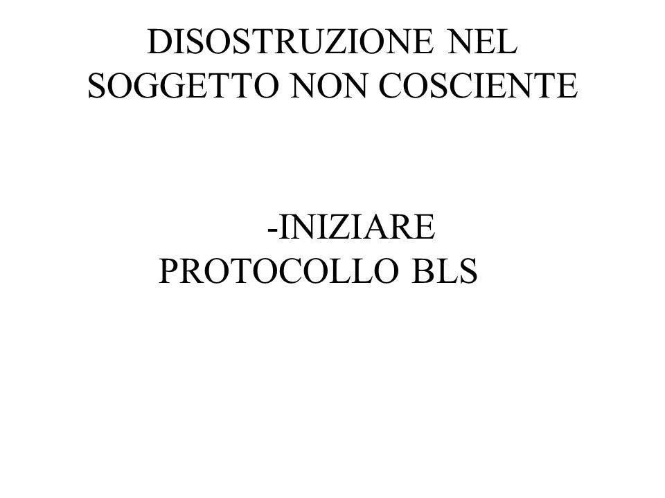 DISOSTRUZIONE NEL SOGGETTO NON COSCIENTE -INIZIARE PROTOCOLLO BLS