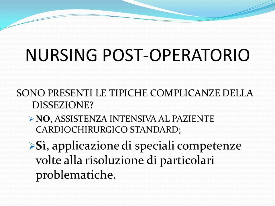 NURSING POST-OPERATORIO SONO PRESENTI LE TIPICHE COMPLICANZE DELLA DISSEZIONE.