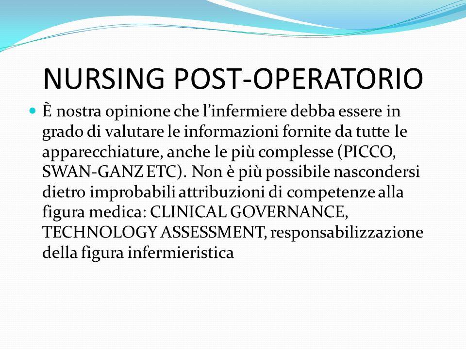 NURSING POST-OPERATORIO È nostra opinione che linfermiere debba essere in grado di valutare le informazioni fornite da tutte le apparecchiature, anche le più complesse (PICCO, SWAN-GANZ ETC).
