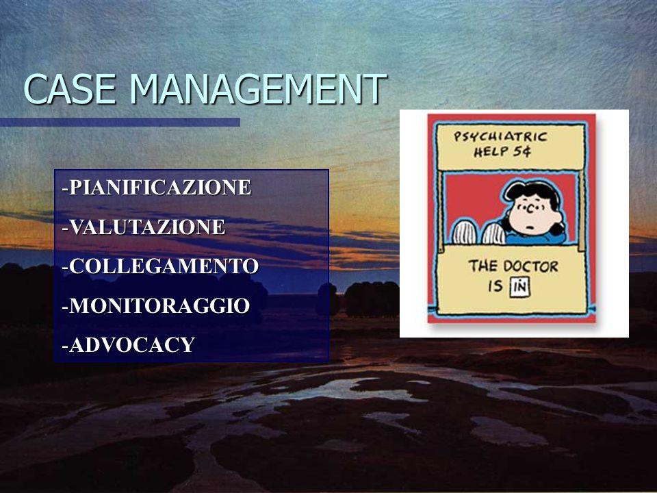 CASE MANAGEMENT -PIANIFICAZIONE -VALUTAZIONE -COLLEGAMENTO -MONITORAGGIO -ADVOCACY