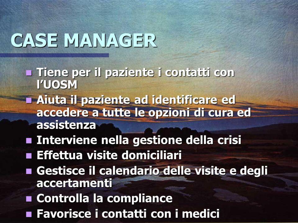 CASE MANAGER Tiene per il paziente i contatti con lUOSM Tiene per il paziente i contatti con lUOSM Aiuta il paziente ad identificare ed accedere a tut