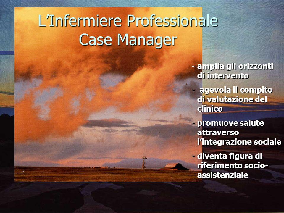 LInfermiere Professionale Case Manager -amplia -amplia gli orizzonti di intervento -agevola il compito di valutazione del clinico -promuove -promuove