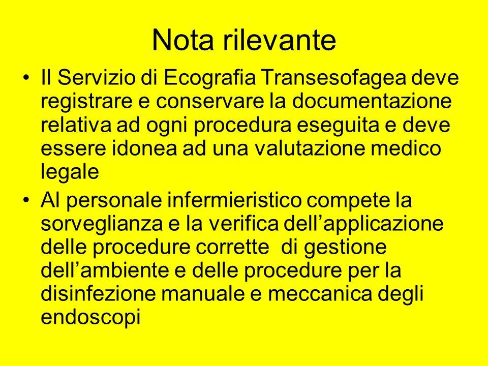 Nota rilevante Il Servizio di Ecografia Transesofagea deve registrare e conservare la documentazione relativa ad ogni procedura eseguita e deve essere