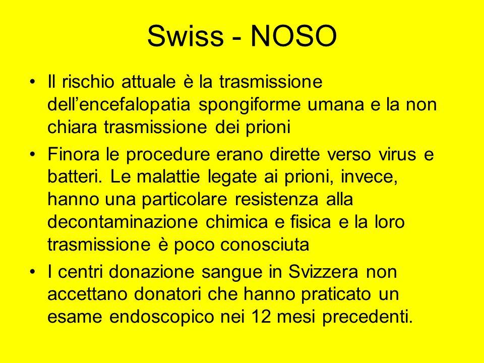 Swiss - NOSO Il rischio attuale è la trasmissione dellencefalopatia spongiforme umana e la non chiara trasmissione dei prioni Finora le procedure eran