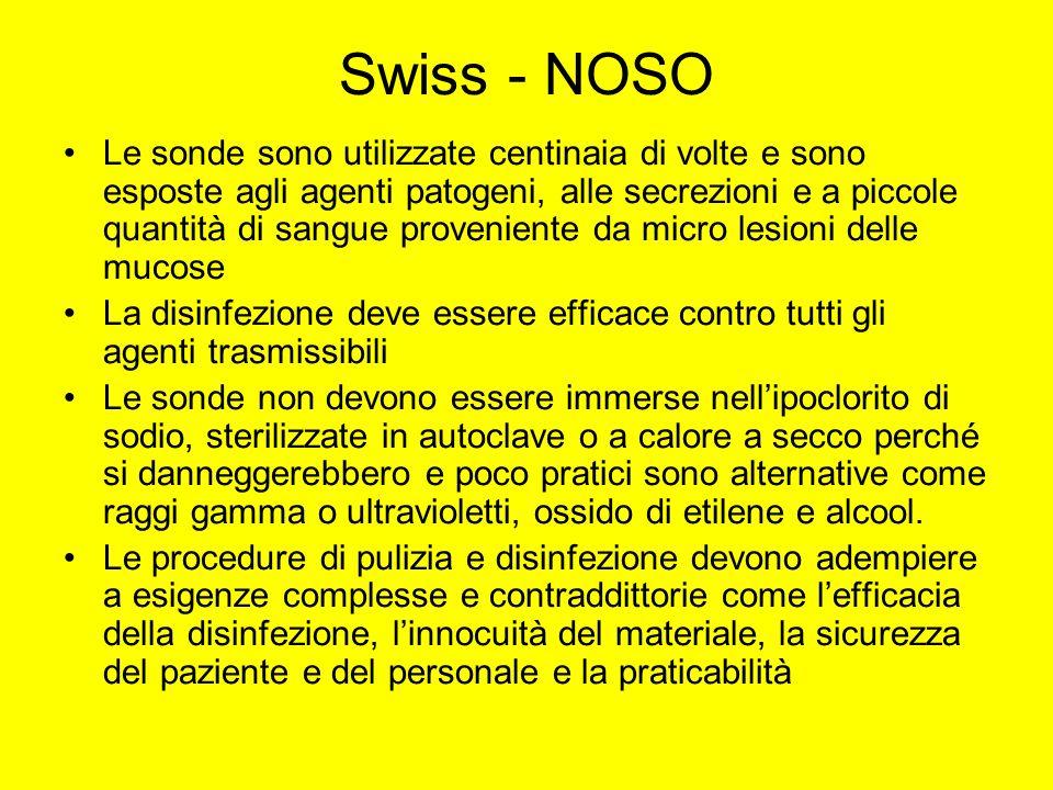 Swiss - NOSO Le sonde sono utilizzate centinaia di volte e sono esposte agli agenti patogeni, alle secrezioni e a piccole quantità di sangue provenien