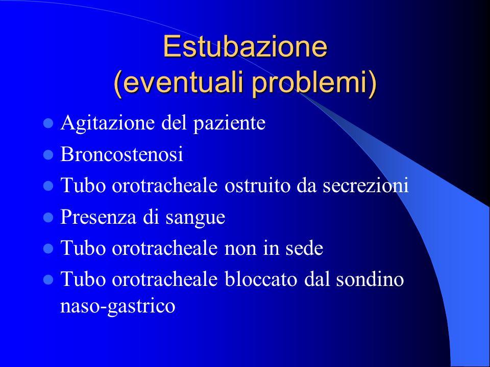 Estubazione (eventuali problemi) Agitazione del paziente Broncostenosi Tubo orotracheale ostruito da secrezioni Presenza di sangue Tubo orotracheale n