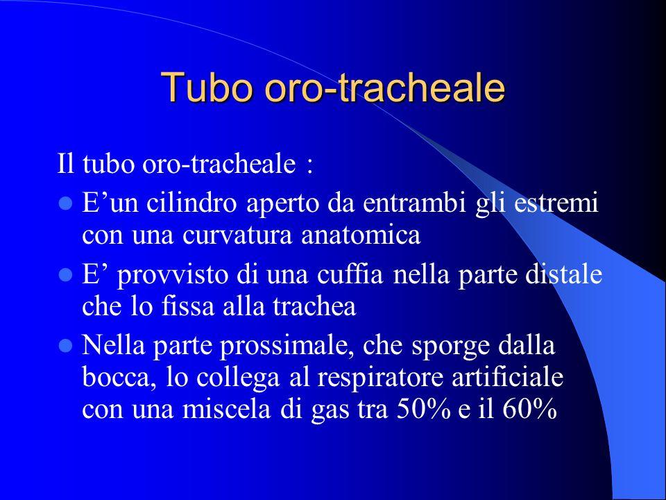 Tubo oro-tracheale Il tubo oro-tracheale : Eun cilindro aperto da entrambi gli estremi con una curvatura anatomica E provvisto di una cuffia nella par