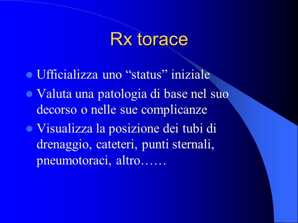 Rx torace Ufficializza uno status iniziale Valuta una patologia di base nel suo decorso o nelle sue complicanze Visualizza la posizione dei tubi di dr