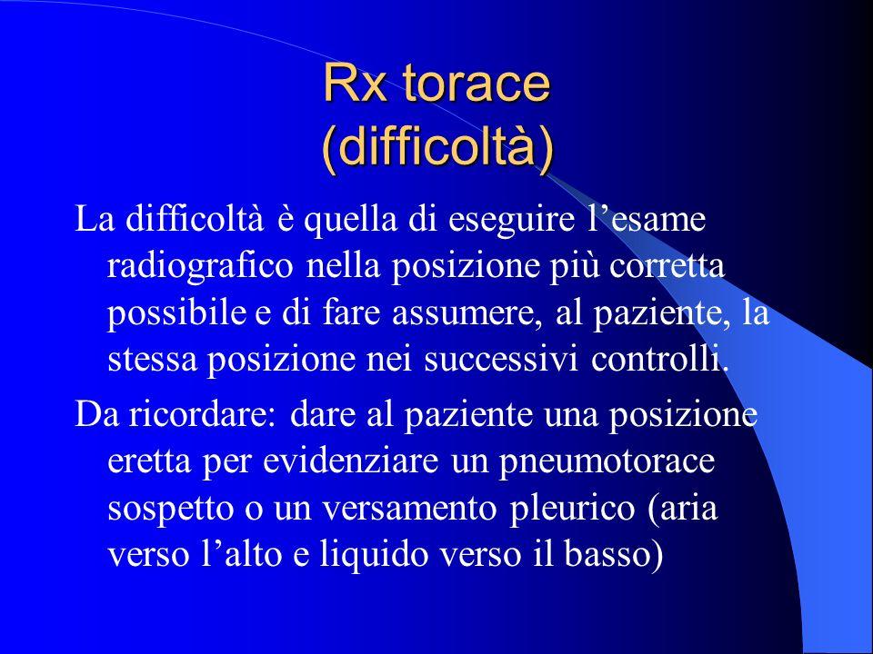 Rx torace (difficoltà) La difficoltà è quella di eseguire lesame radiografico nella posizione più corretta possibile e di fare assumere, al paziente,
