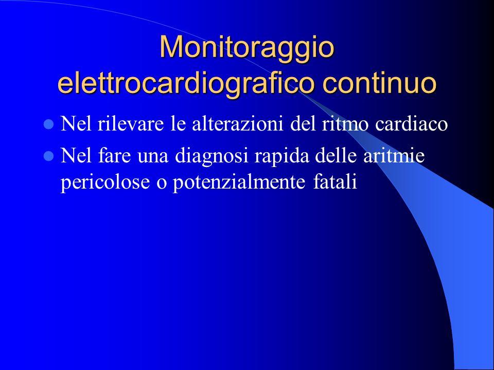 Monitoraggio elettrocardiografico continuo Nel rilevare le alterazioni del ritmo cardiaco Nel fare una diagnosi rapida delle aritmie pericolose o pote