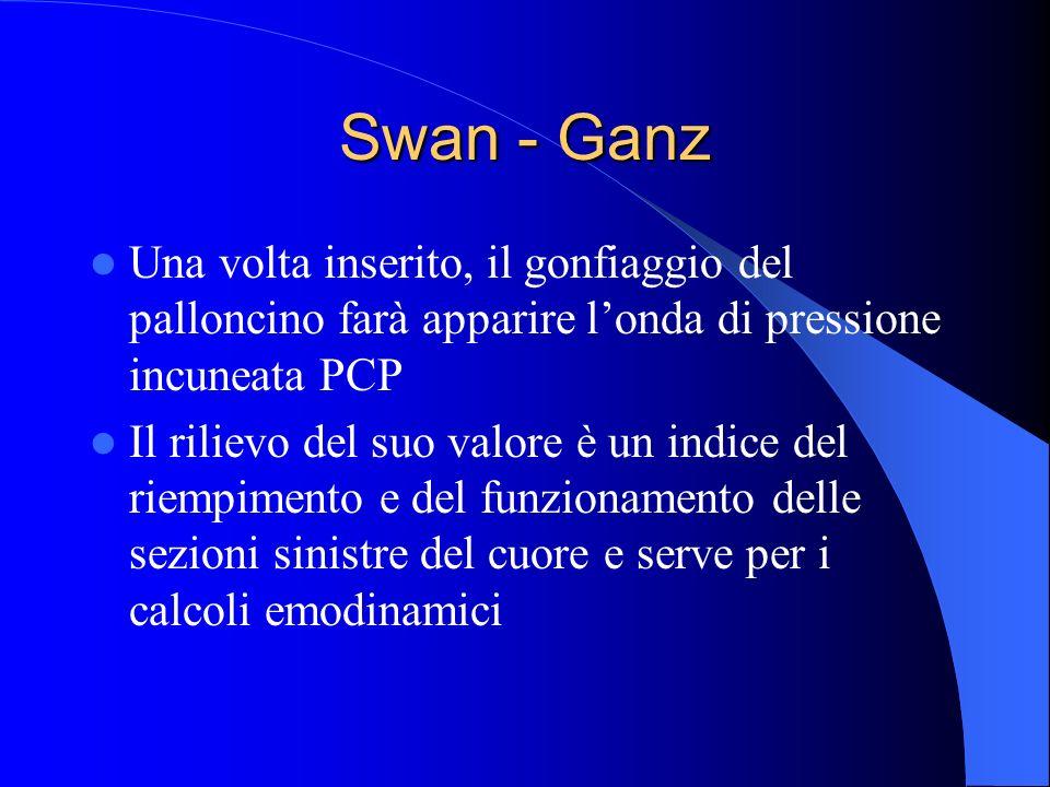 Swan - Ganz Una volta inserito, il gonfiaggio del palloncino farà apparire londa di pressione incuneata PCP Il rilievo del suo valore è un indice del