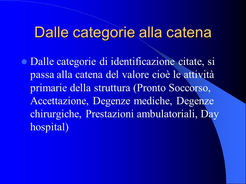 Dalle categorie alla catena Dalle categorie di identificazione citate, si passa alla catena del valore cioè le attività primarie della struttura (Pron