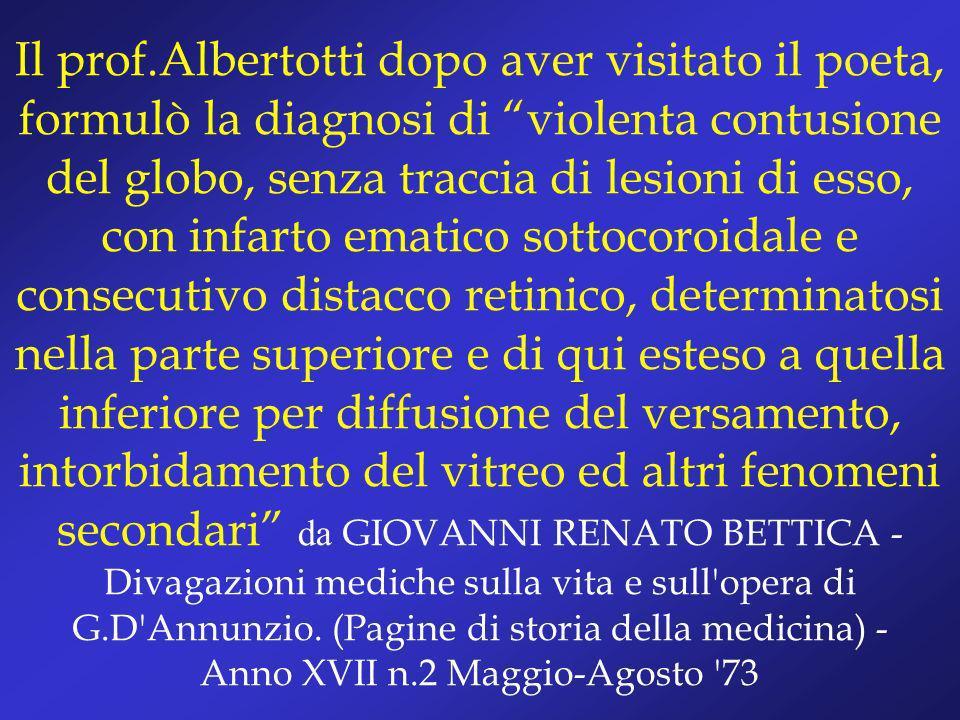 Il prof.Albertotti dopo aver visitato il poeta, formulò la diagnosi di violenta contusione del globo, senza traccia di lesioni di esso, con infarto em