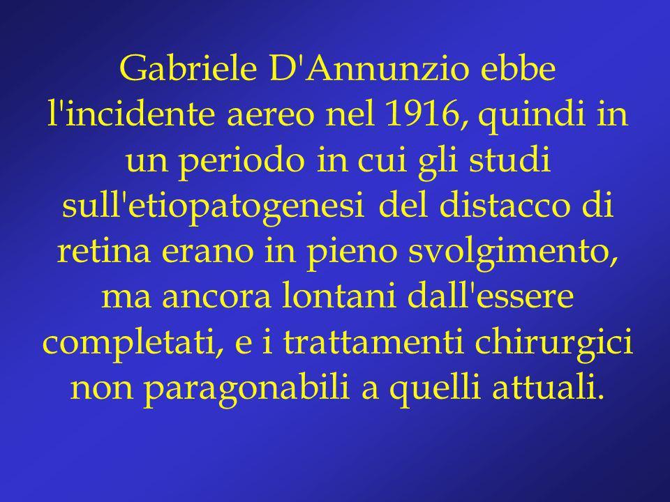Gabriele D'Annunzio ebbe l'incidente aereo nel 1916, quindi in un periodo in cui gli studi sull'etiopatogenesi del distacco di retina erano in pieno s