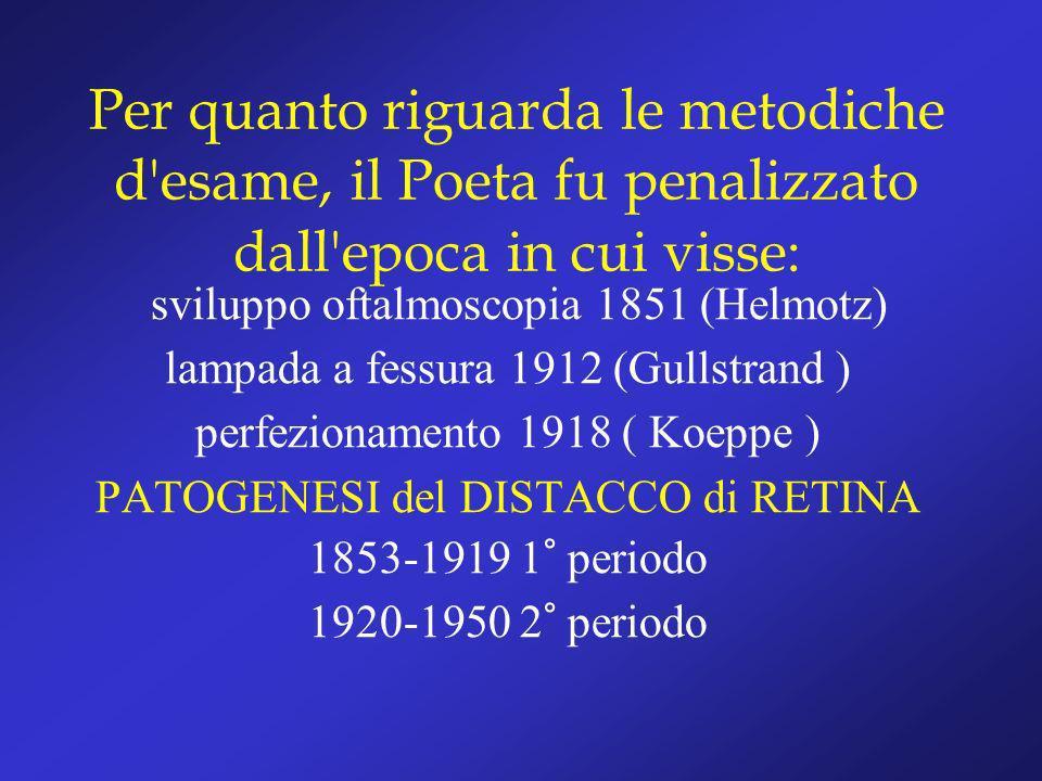 Per quanto riguarda le metodiche d'esame, il Poeta fu penalizzato dall'epoca in cui visse: sviluppo oftalmoscopia 1851 (Helmotz) lampada a fessura 191
