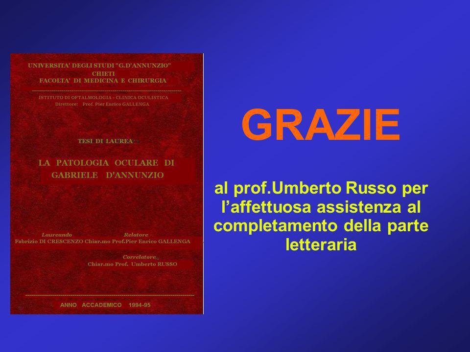 GRAZIE al prof.Umberto Russo per laffettuosa assistenza al completamento della parte letteraria