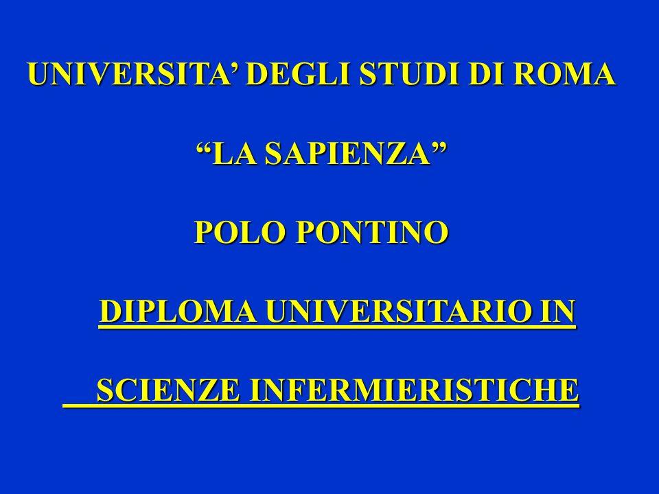 UNIVERSITA DEGLI STUDI DI ROMA UNIVERSITA DEGLI STUDI DI ROMA LA SAPIENZA POLO PONTINO DIPLOMA UNIVERSITARIO IN SCIENZE INFERMIERISTICHE SCIENZE INFER