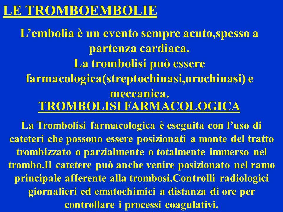 LE TROMBOEMBOLIE Lembolia è un evento sempre acuto,spesso a partenza cardiaca. La trombolisi può essere farmacologica(streptochinasi,urochinasi) e mec