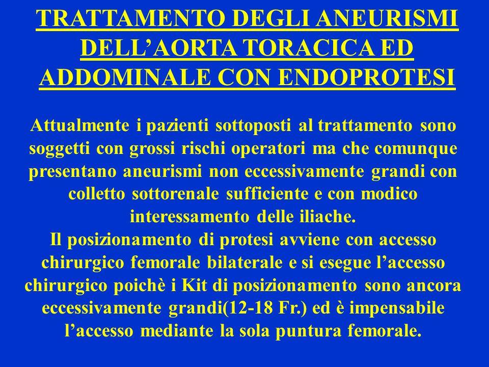 TRATTAMENTO DEGLI ANEURISMI DELLAORTA TORACICA ED ADDOMINALE CON ENDOPROTESI Attualmente i pazienti sottoposti al trattamento sono soggetti con grossi