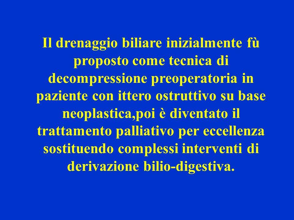 Il drenaggio biliare inizialmente fù proposto come tecnica di decompressione preoperatoria in paziente con ittero ostruttivo su base neoplastica,poi è