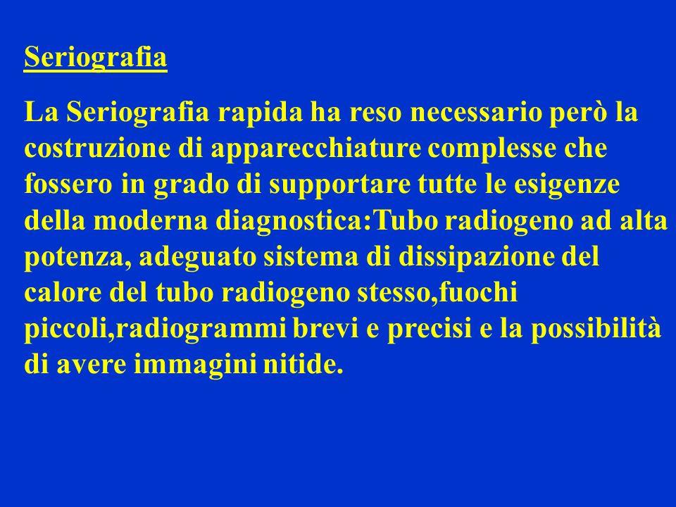 Seriografia La Seriografia rapida ha reso necessario però la costruzione di apparecchiature complesse che fossero in grado di supportare tutte le esig