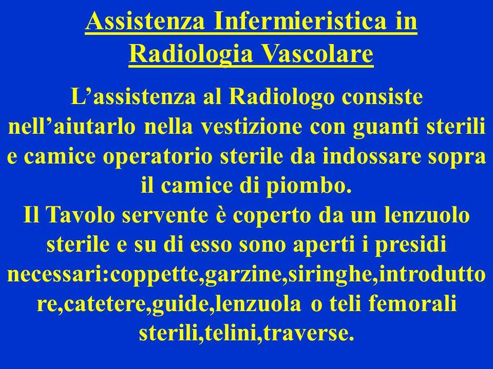 Assistenza Infermieristica in Radiologia Vascolare Lassistenza al Radiologo consiste nellaiutarlo nella vestizione con guanti sterili e camice operato