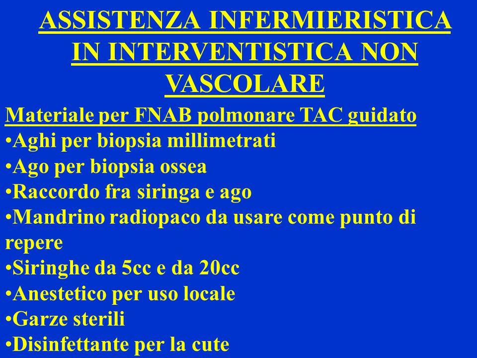 ASSISTENZA INFERMIERISTICA IN INTERVENTISTICA NON VASCOLARE Materiale per FNAB polmonare TAC guidato Aghi per biopsia millimetrati Ago per biopsia oss