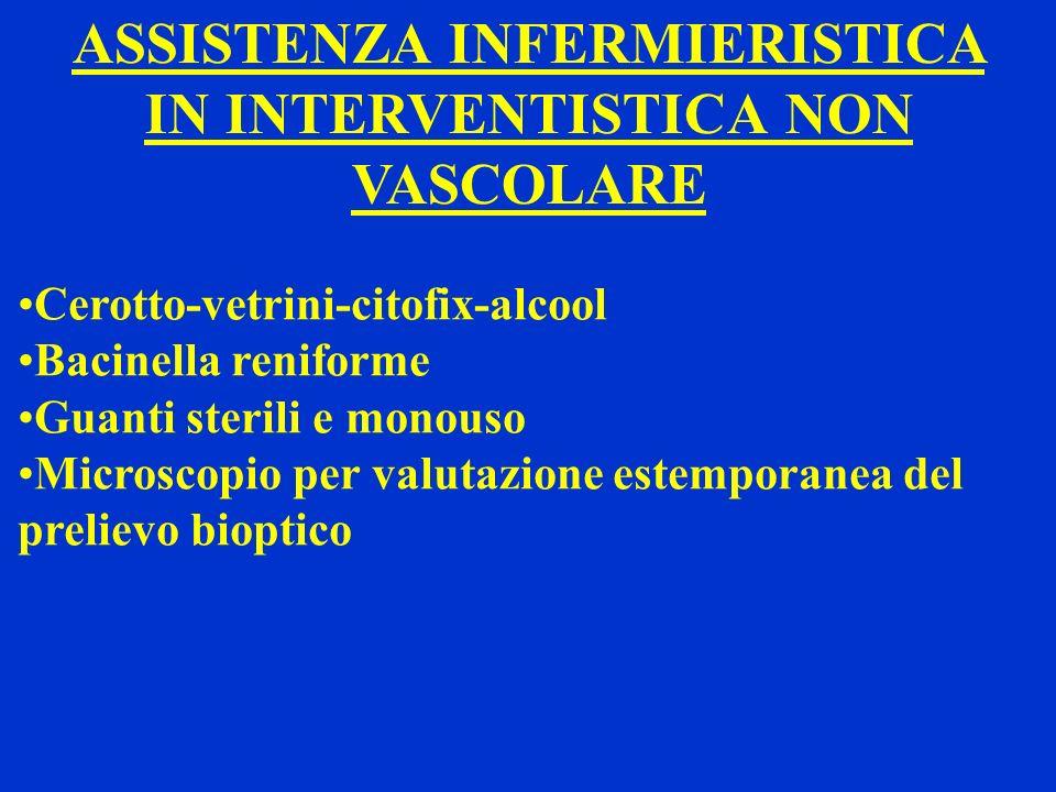 ASSISTENZA INFERMIERISTICA IN INTERVENTISTICA NON VASCOLARE Cerotto-vetrini-citofix-alcool Bacinella reniforme Guanti sterili e monouso Microscopio pe