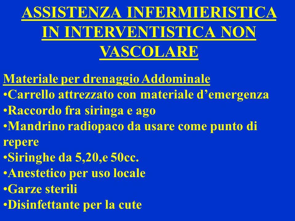 ASSISTENZA INFERMIERISTICA IN INTERVENTISTICA NON VASCOLARE Materiale per drenaggio Addominale Carrello attrezzato con materiale demergenza Raccordo f