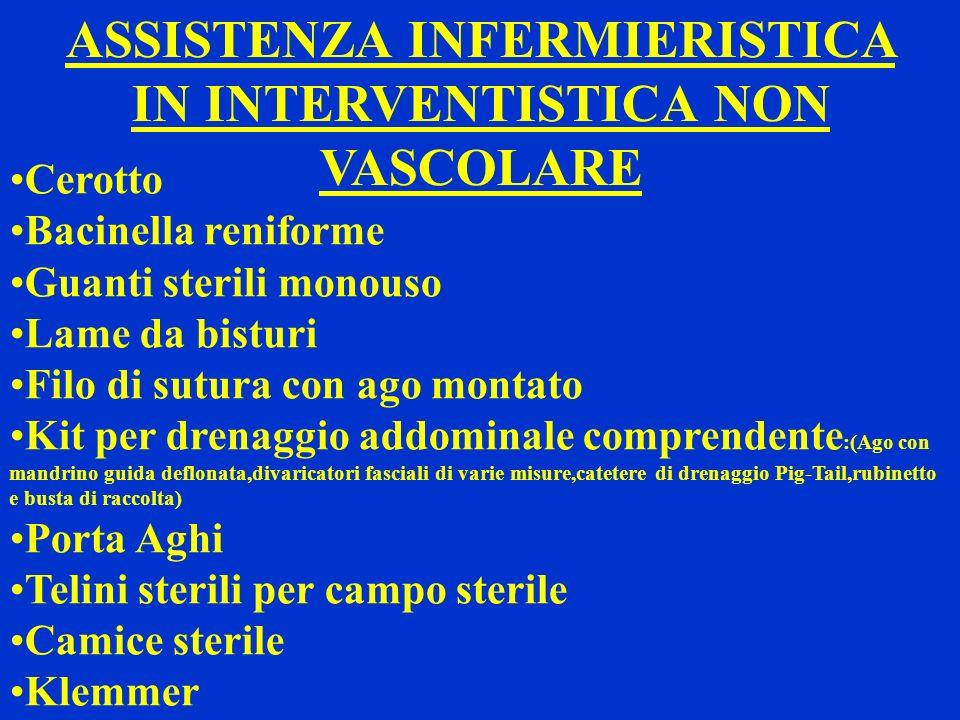 ASSISTENZA INFERMIERISTICA IN INTERVENTISTICA NON VASCOLARE Cerotto Bacinella reniforme Guanti sterili monouso Lame da bisturi Filo di sutura con ago