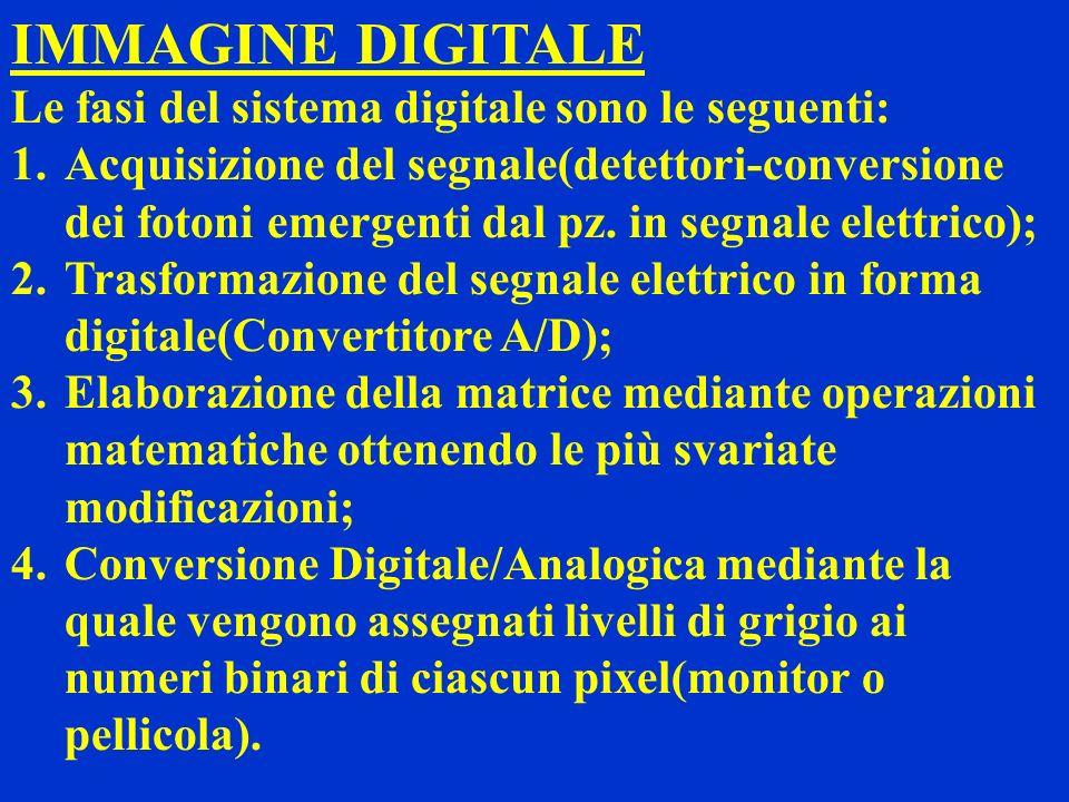 IMMAGINE DIGITALE Le fasi del sistema digitale sono le seguenti: 1.Acquisizione del segnale(detettori-conversione dei fotoni emergenti dal pz. in segn